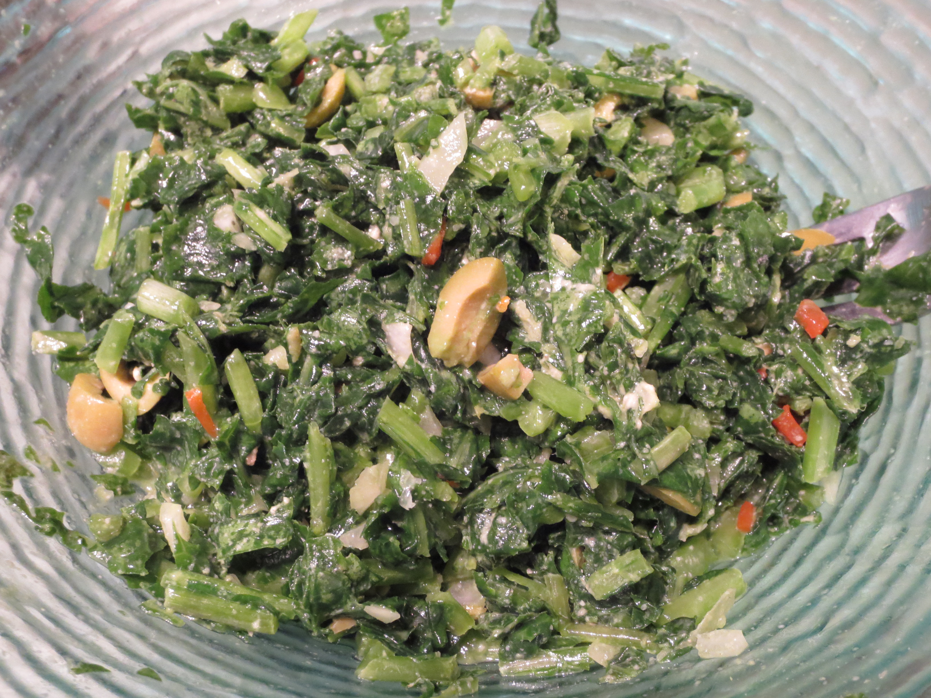Homegrown massaged kale salad.
