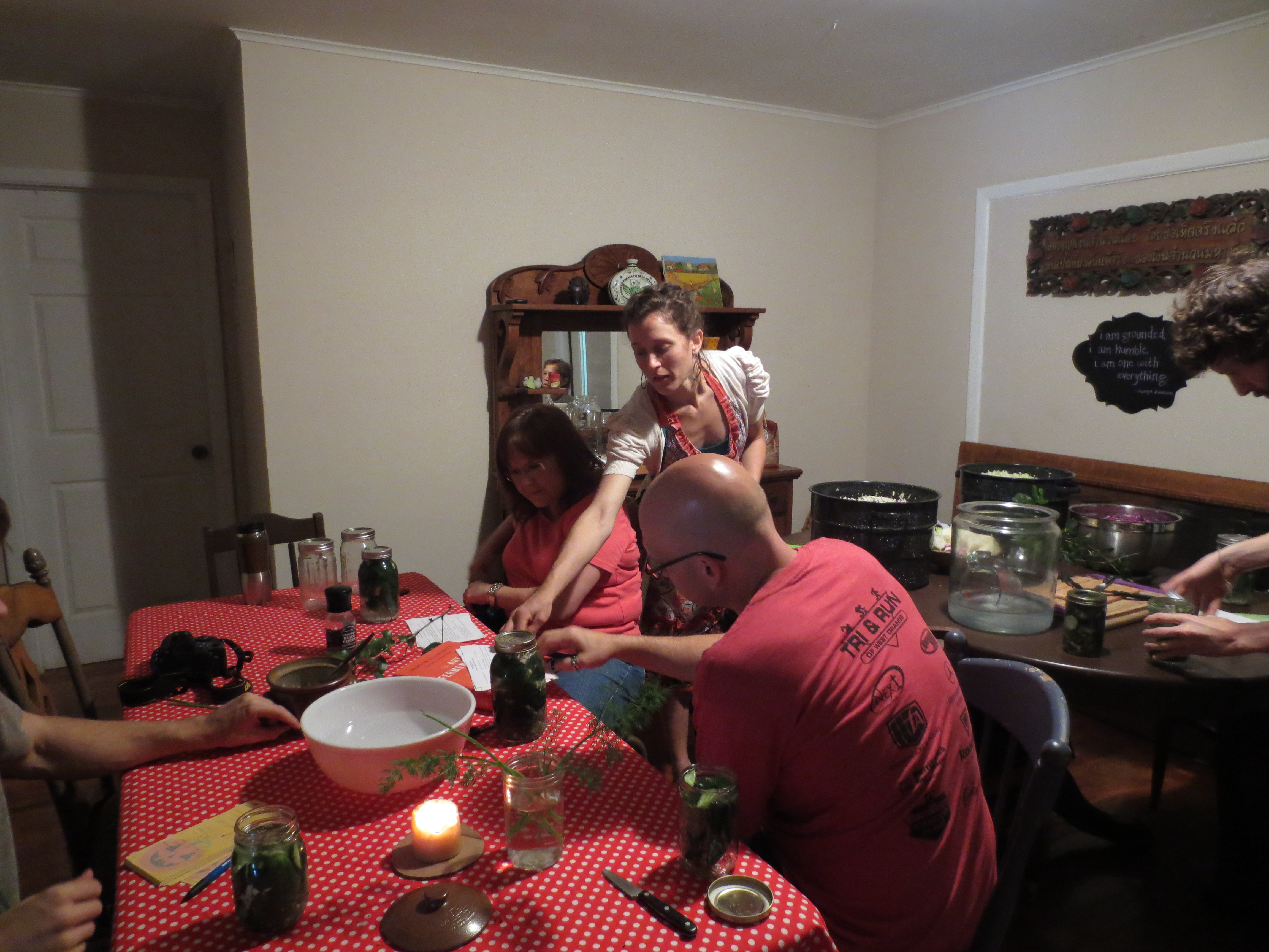 Marsha, Jay and I working on pickles.